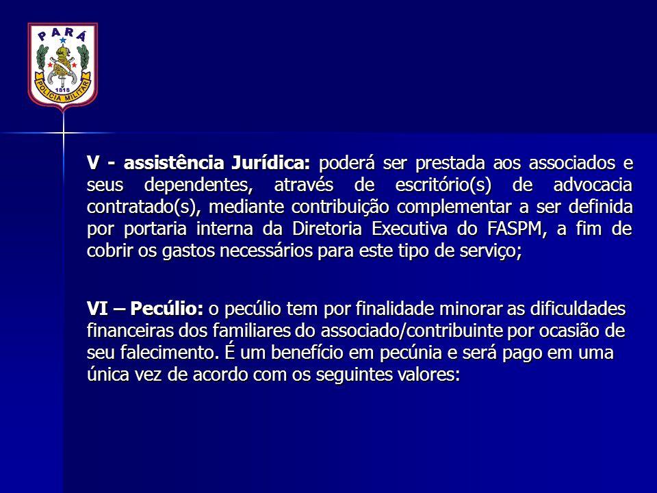 V - assistência Jurídica: poderá ser prestada aos associados e seus dependentes, através de escritório(s) de advocacia contratado(s), mediante contrib