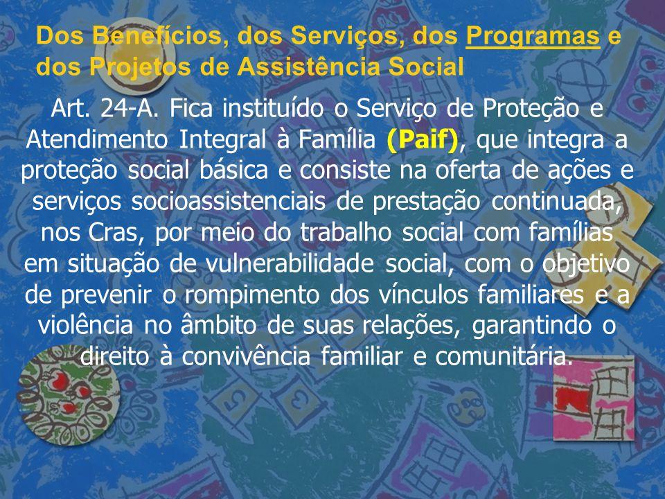 Dos Benefícios, dos Serviços, dos Programas e dos Projetos de Assistência Social Art. 24-A. Fica instituído o Serviço de Proteção e Atendimento Integr