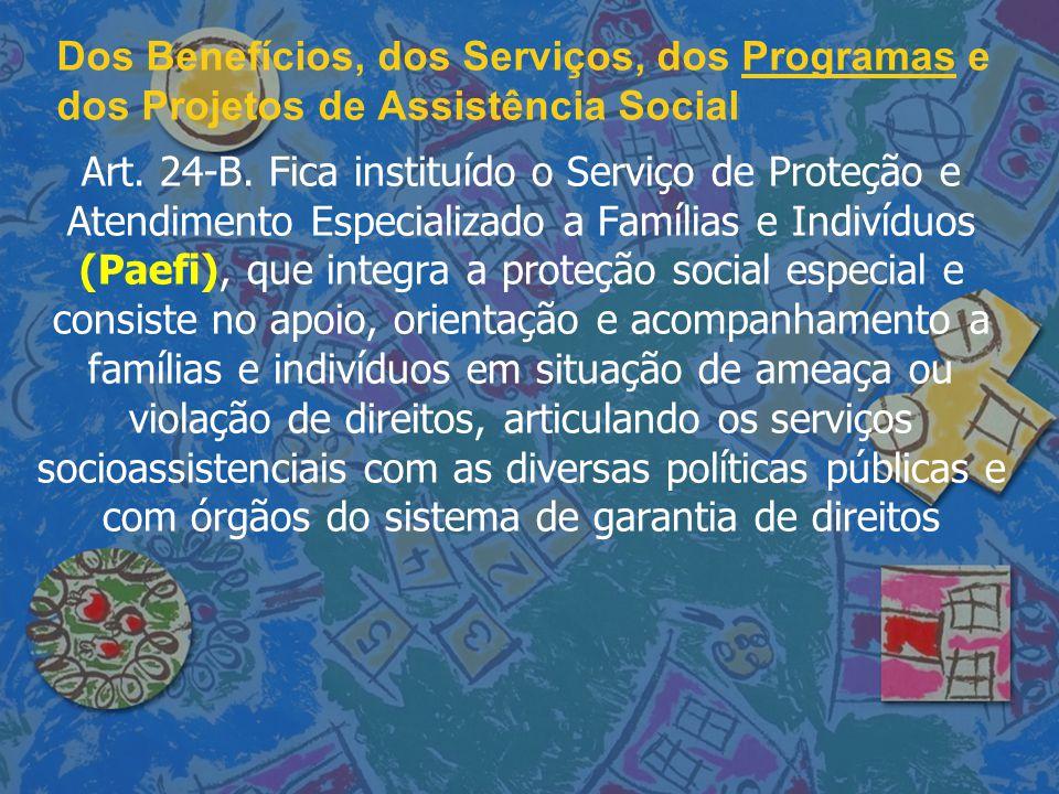 Dos Benefícios, dos Serviços, dos Programas e dos Projetos de Assistência Social Art. 24-B. Fica instituído o Serviço de Proteção e Atendimento Especi