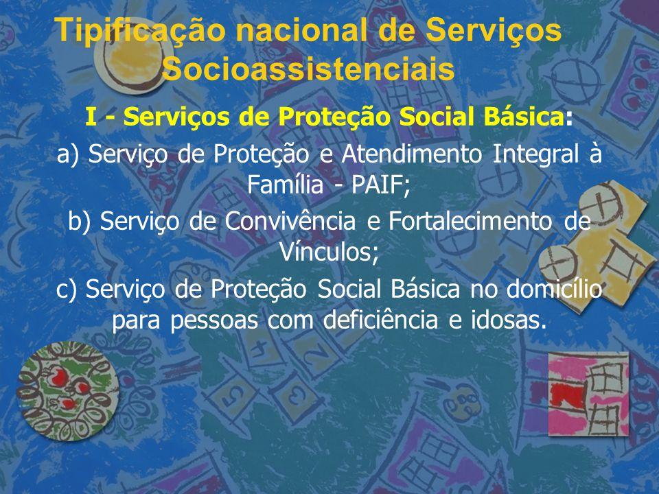 Tipificação nacional de Serviços Socioassistenciais I - Serviços de Proteção Social Básica: a) Serviço de Proteção e Atendimento Integral à Família -