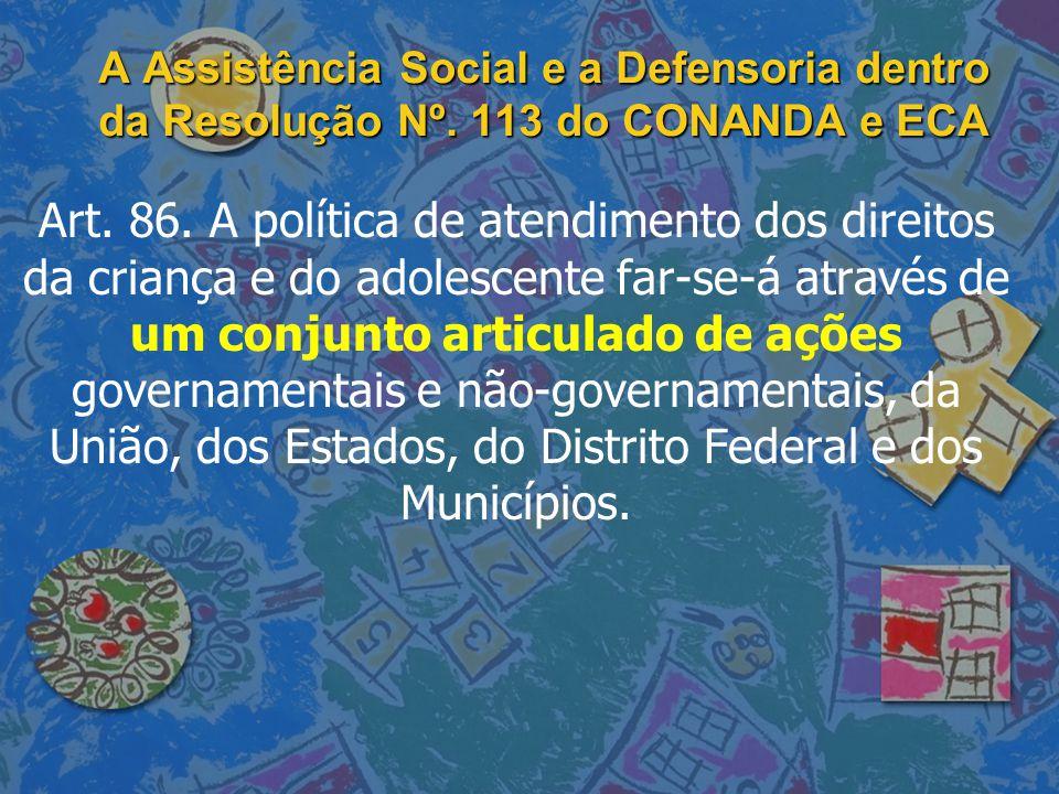 A Assistência Social e a Defensoria dentro da Resolução Nº. 113 do CONANDA e ECA Art. 86. A política de atendimento dos direitos da criança e do adole