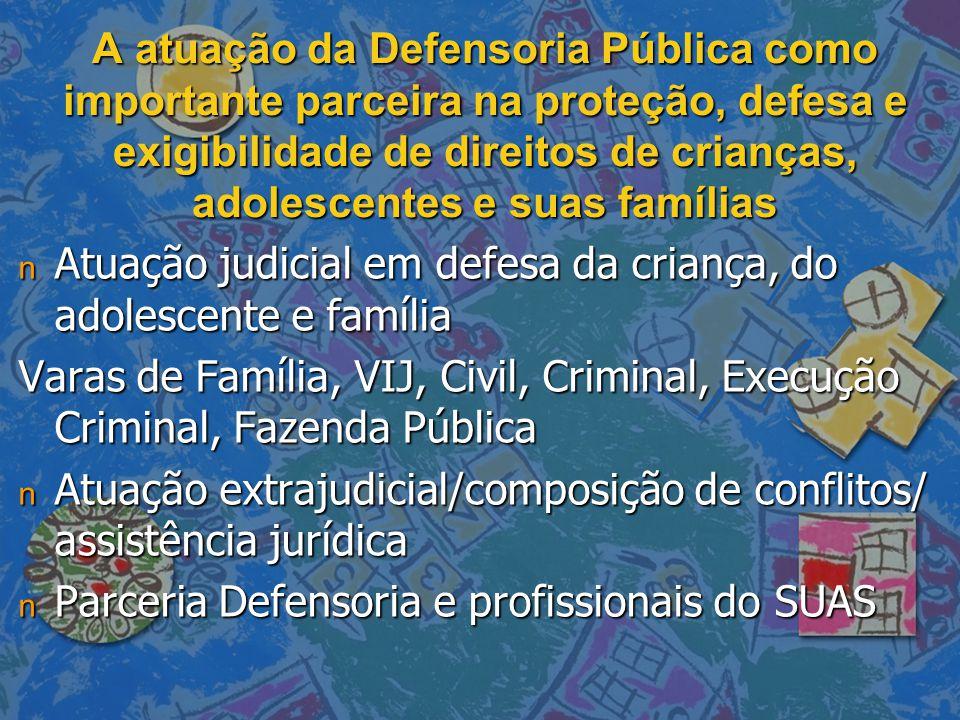A atuação da Defensoria Pública como importante parceira na proteção, defesa e exigibilidade de direitos de crianças, adolescentes e suas famílias n A