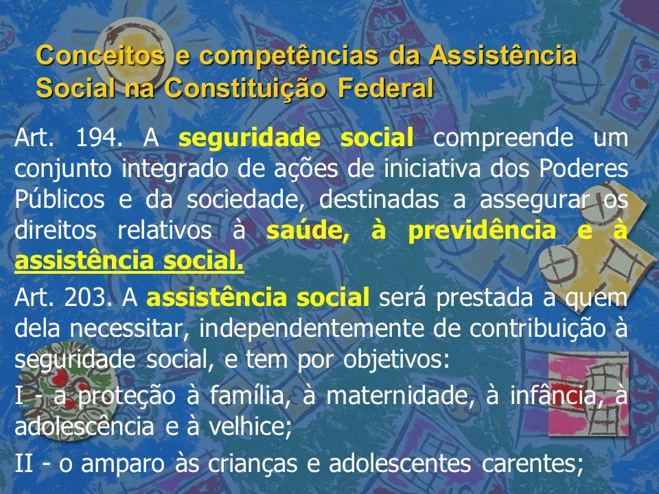 Conceitos e competências da Assistência Social na Constituição Federal Art. 194. A seguridade social compreende um conjunto integrado de ações de inic