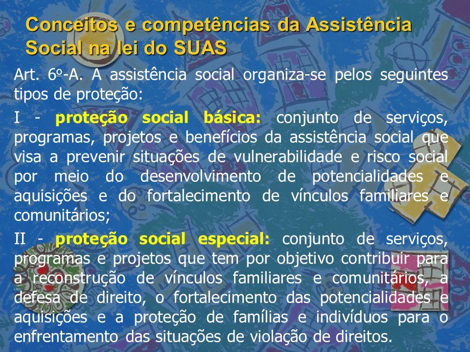 Conceitos e competências da Assistência Social na lei do SUAS Art. 6 o -A. A assistência social organiza-se pelos seguintes tipos de proteção: I - pro