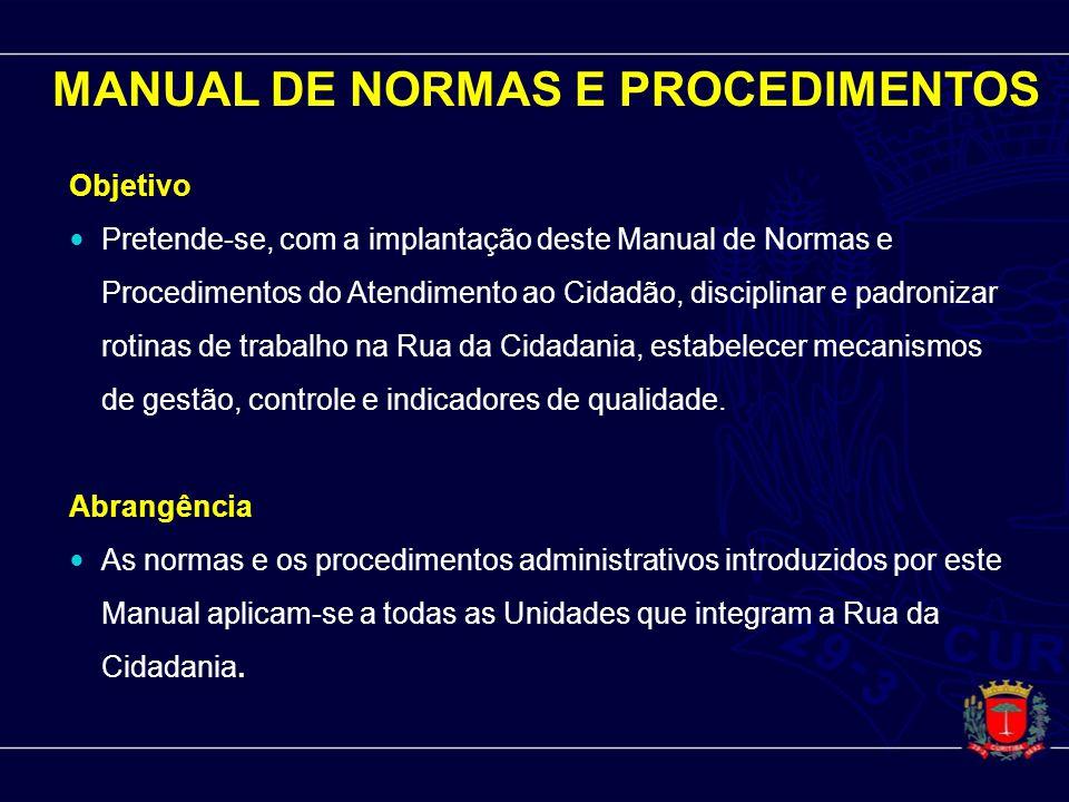 MANUAL DE NORMAS E PROCEDIMENTOS Objetivo Pretende-se, com a implantação deste Manual de Normas e Procedimentos do Atendimento ao Cidadão, disciplinar