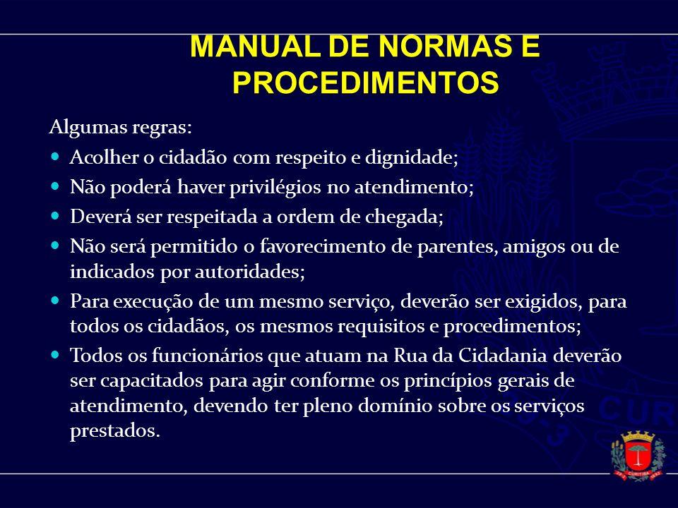MANUAL DE NORMAS E PROCEDIMENTOS Algumas regras: Acolher o cidadão com respeito e dignidade; Não poderá haver privilégios no atendimento; Deverá ser r