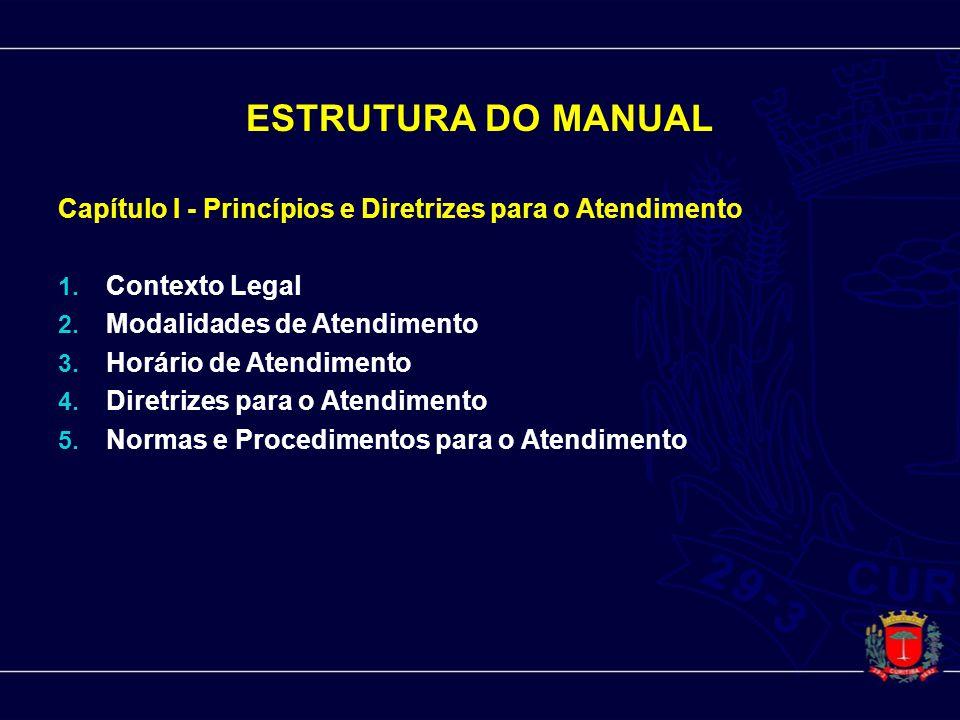 ESTRUTURA DO MANUAL Capítulo I - Princípios e Diretrizes para o Atendimento 1. Contexto Legal 2. Modalidades de Atendimento 3. Horário de Atendimento