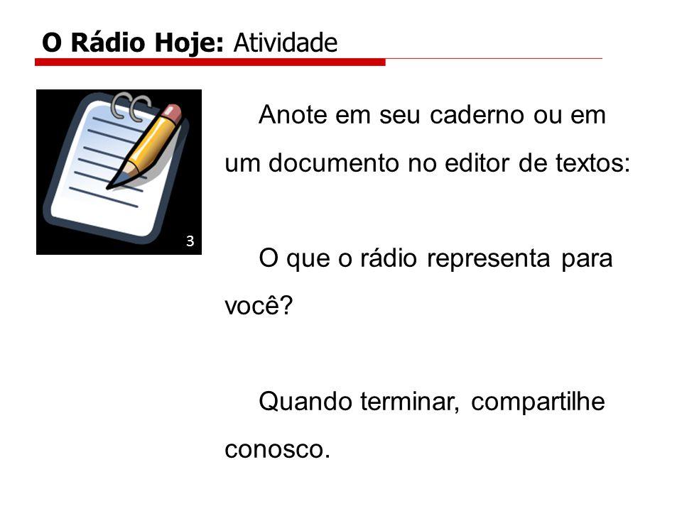 Anote em seu caderno ou em um documento no editor de textos: O que o rádio representa para você.