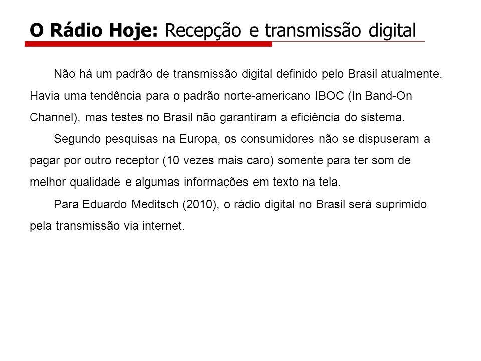 Não há um padrão de transmissão digital definido pelo Brasil atualmente.