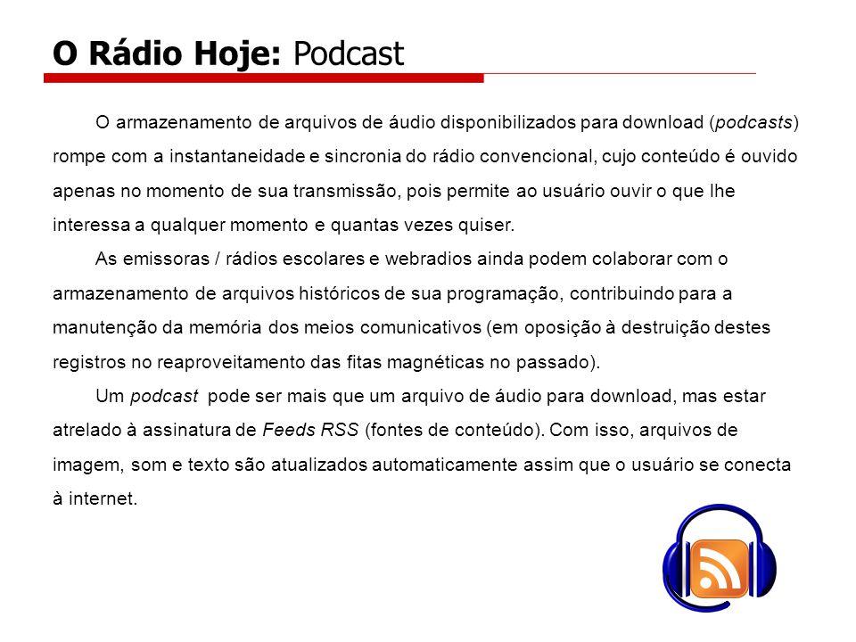 O armazenamento de arquivos de áudio disponibilizados para download (podcasts) rompe com a instantaneidade e sincronia do rádio convencional, cujo conteúdo é ouvido apenas no momento de sua transmissão, pois permite ao usuário ouvir o que lhe interessa a qualquer momento e quantas vezes quiser.
