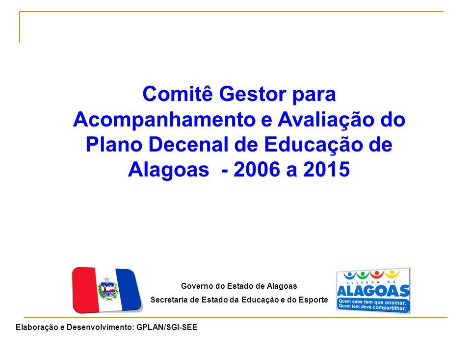 Governo do Estado de Alagoas Secretaria de Estado da Educação e do Esporte Comitê Gestor para Acompanhamento e Avaliação do Plano Decenal de Educação de Alagoas - 2006 a 2015 Elaboração e Desenvolvimento: GPLAN/SGI-SEE