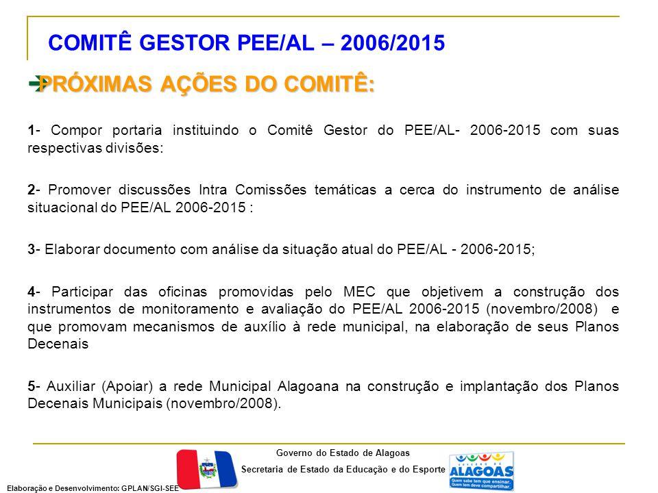  PRÓXIMAS AÇÕES DO COMITÊ: 1- Compor portaria instituindo o Comitê Gestor do PEE/AL- 2006-2015 com suas respectivas divisões: 2- Promover discussões