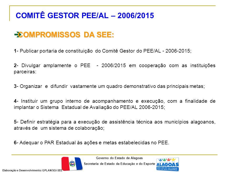  COMPROMISSOS DA SEE: 1- Publicar portaria de constituição do Comitê Gestor do PEE/AL - 2006-2015; 2- Divulgar amplamente o PEE - 2006/2015 em cooper