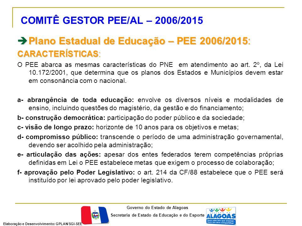 COMITÊ GESTOR PEE/AL – 2006/2015  Plano Estadual de Educação – PEE 2006/2015: CARACTERÍSTICAS: O PEE abarca as mesmas características do PNE em atendimento ao art.