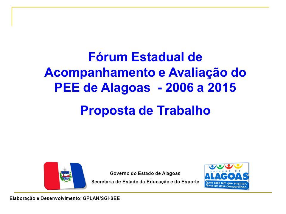 Governo do Estado de Alagoas Secretaria de Estado da Educação e do Esporte Elaboração e Desenvolvimento: GPLAN/SGI-SEE Fórum Estadual de Acompanhamento e Avaliação do PEE de Alagoas - 2006 a 2015 Proposta de Trabalho
