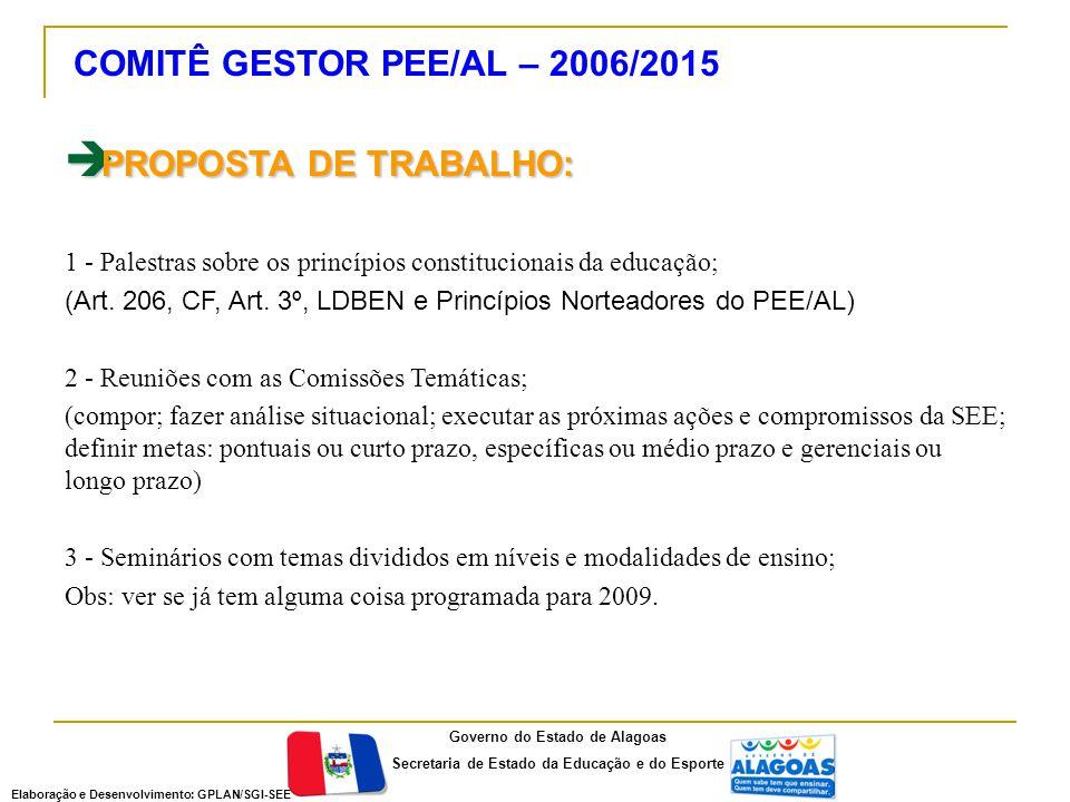  PROPOSTA DE TRABALHO: 1 - Palestras sobre os princípios constitucionais da educação; (Art.