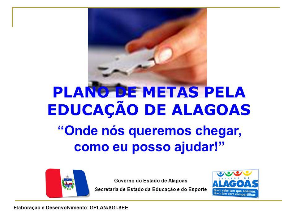 """PLANO DE METAS PELA EDUCAÇÃO DE ALAGOAS Governo do Estado de Alagoas Secretaria de Estado da Educação e do Esporte """"Onde nós queremos chegar, como eu"""