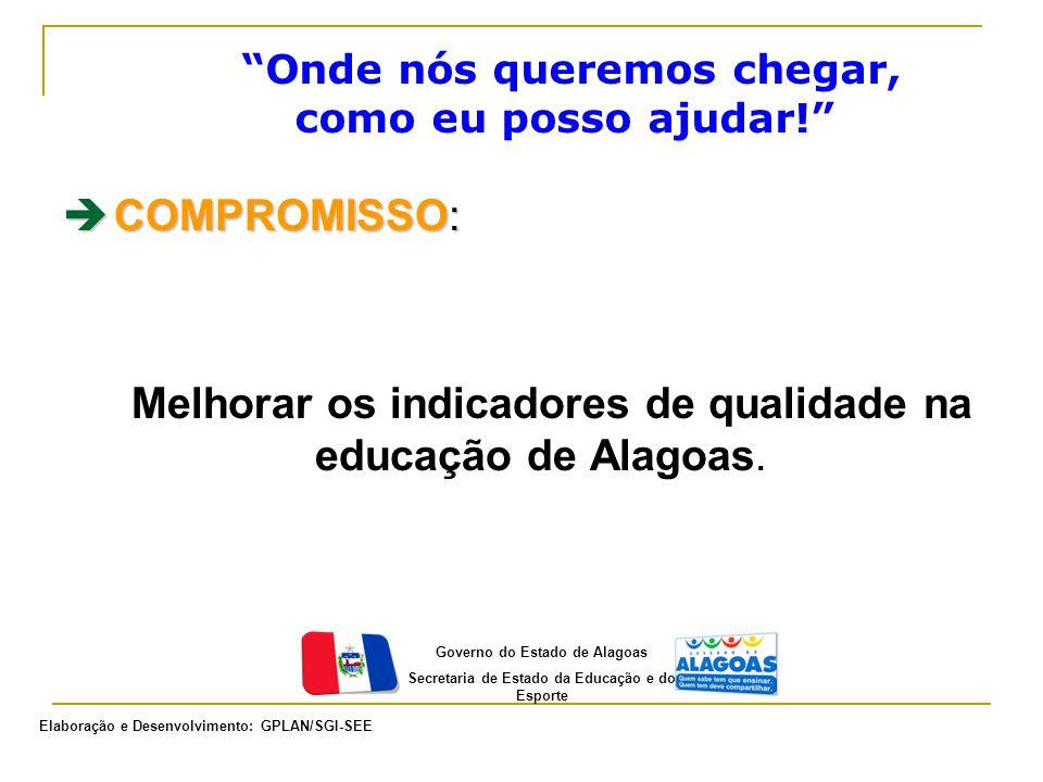 """""""Onde nós queremos chegar, como eu posso ajudar!""""  COMPROMISSO: Melhorar os indicadores de qualidade na educação de Alagoas. Governo do Estado de Ala"""