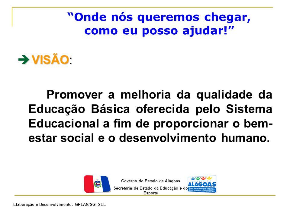  VISÃO: Promover a melhoria da qualidade da Educação Básica oferecida pelo Sistema Educacional a fim de proporcionar o bem- estar social e o desenvol