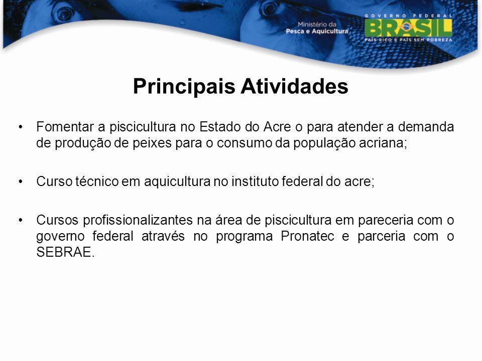 Principais Atividades Fomentar a piscicultura no Estado do Acre o para atender a demanda de produção de peixes para o consumo da população acriana; Cu