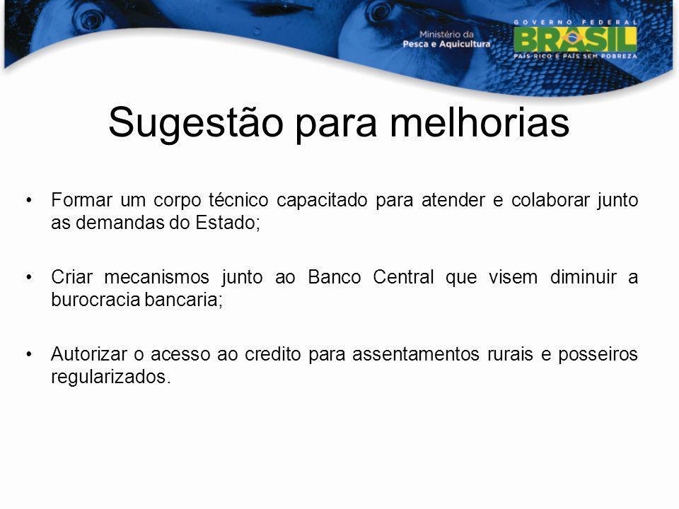 Sugestão para melhorias Formar um corpo técnico capacitado para atender e colaborar junto as demandas do Estado; Criar mecanismos junto ao Banco Centr
