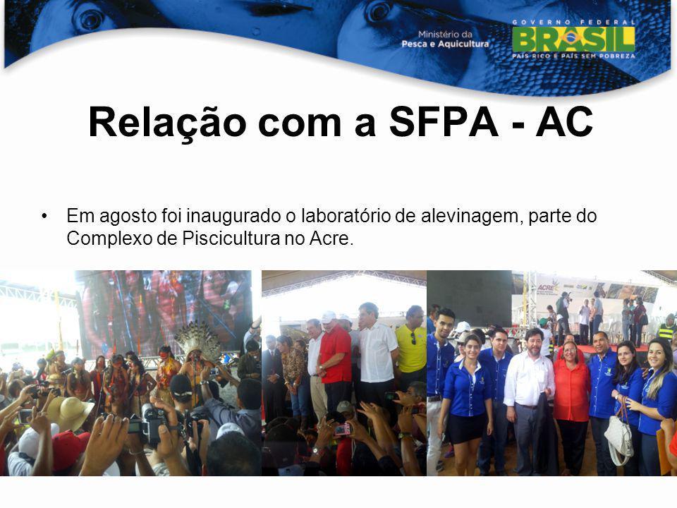 Relação com a SFPA - AC Em agosto foi inaugurado o laboratório de alevinagem, parte do Complexo de Piscicultura no Acre.