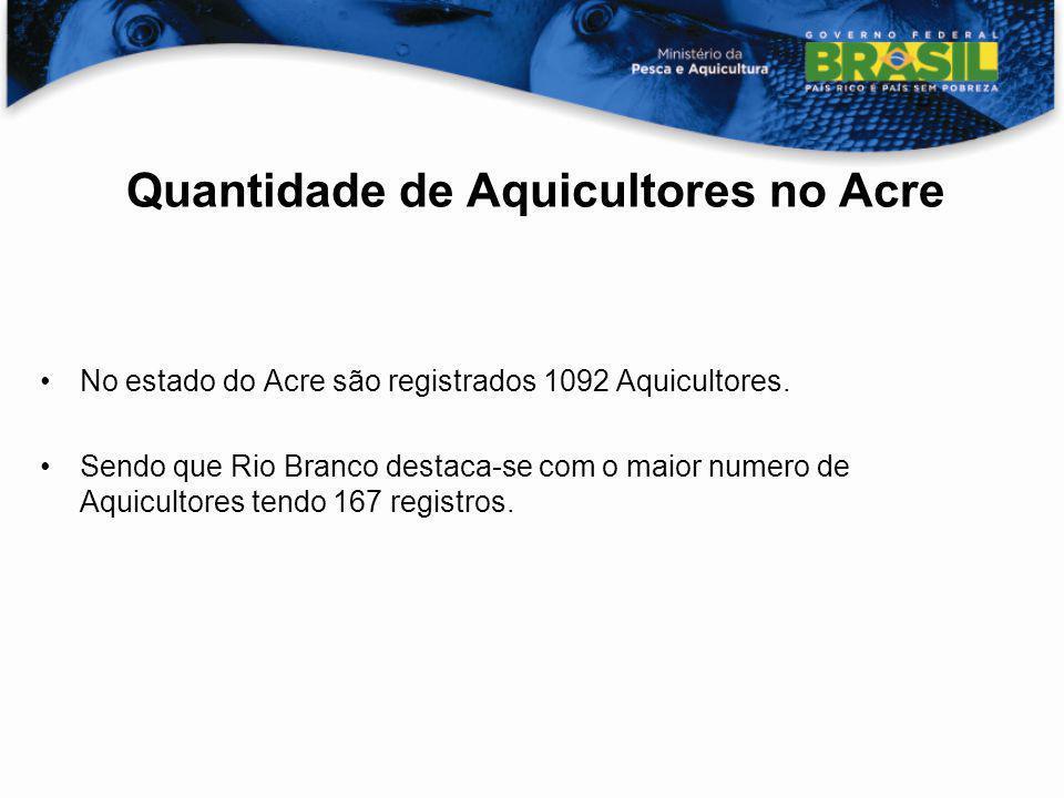 Quantidade de Aquicultores no Acre No estado do Acre são registrados 1092 Aquicultores. Sendo que Rio Branco destaca-se com o maior numero de Aquicult