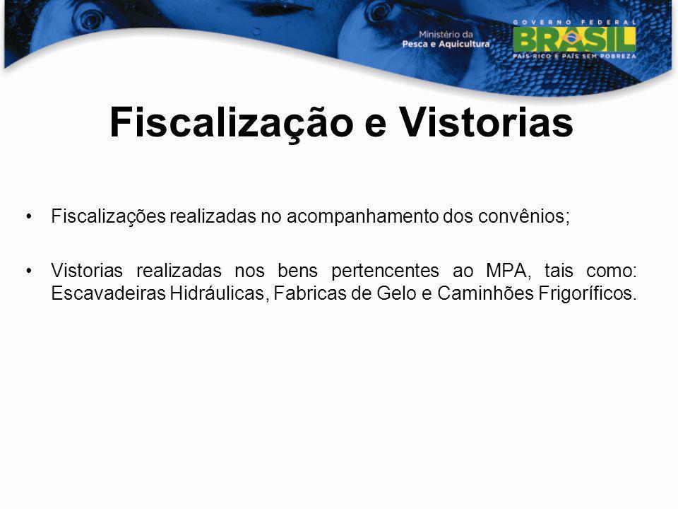 Fiscalização e Vistorias Fiscalizações realizadas no acompanhamento dos convênios; Vistorias realizadas nos bens pertencentes ao MPA, tais como: Escav