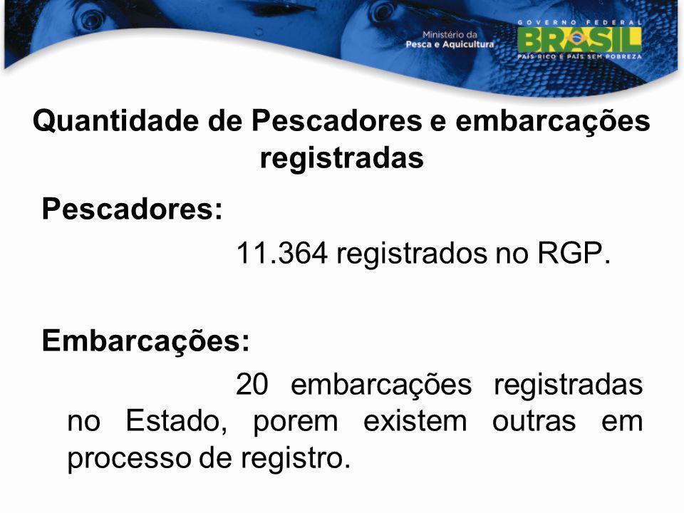 Quantidade de Pescadores e embarcações registradas Pescadores: 11.364 registrados no RGP. Embarcações: 20 embarcações registradas no Estado, porem exi
