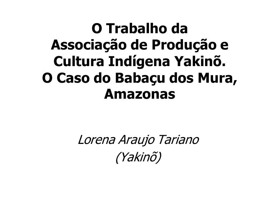 O Trabalho da Associação de Produção e Cultura Indígena Yakinõ. O Caso do Babaçu dos Mura, Amazonas Lorena Araujo Tariano (Yakinõ)