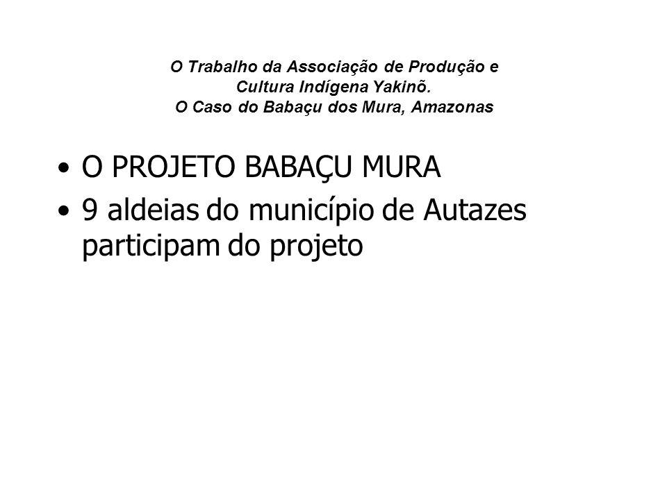 O Trabalho da Associação de Produção e Cultura Indígena Yakinõ. O Caso do Babaçu dos Mura, Amazonas O PROJETO BABAÇU MURA 9 aldeias do município de Au