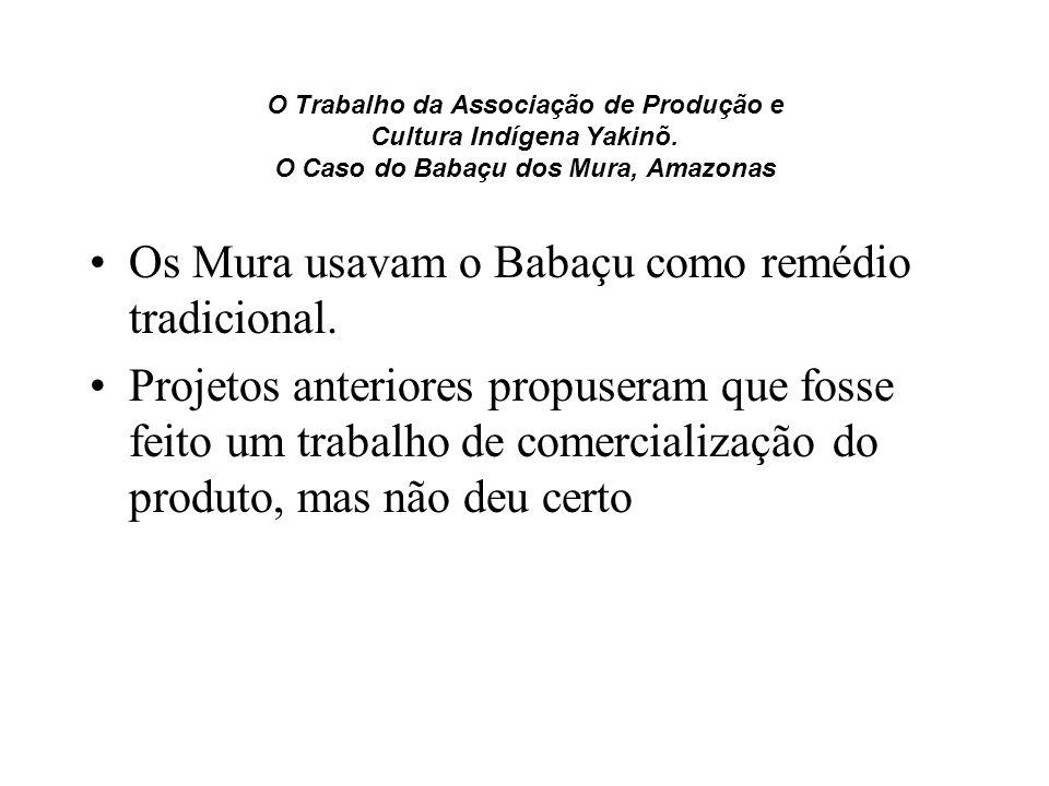 O Trabalho da Associação de Produção e Cultura Indígena Yakinõ. O Caso do Babaçu dos Mura, Amazonas Os Mura usavam o Babaçu como remédio tradicional.