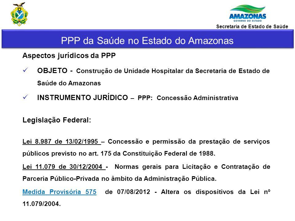 PPP da Saúde no Estado do Amazonas Secretaria de Estado de Saúde Legislação Estadual : Lei 3.363 de 30/12/2008 – Dispõe sobre o Programa de Parceria Público-Privada Decreto 31.756 de 11/11/2011- Regulamento do Conselho Gestor e da Unidade Gestora do Programa Estadual de Parcerias Público-Privadas.