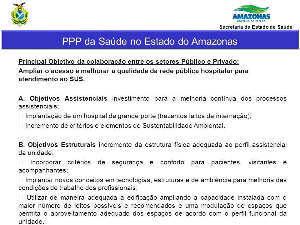 PPP da Saúde no Estado do Amazonas Secretaria de Estado de Saúde Principal Objetivo da colaboração entre os setores Público e Privado: Ampliar o acess