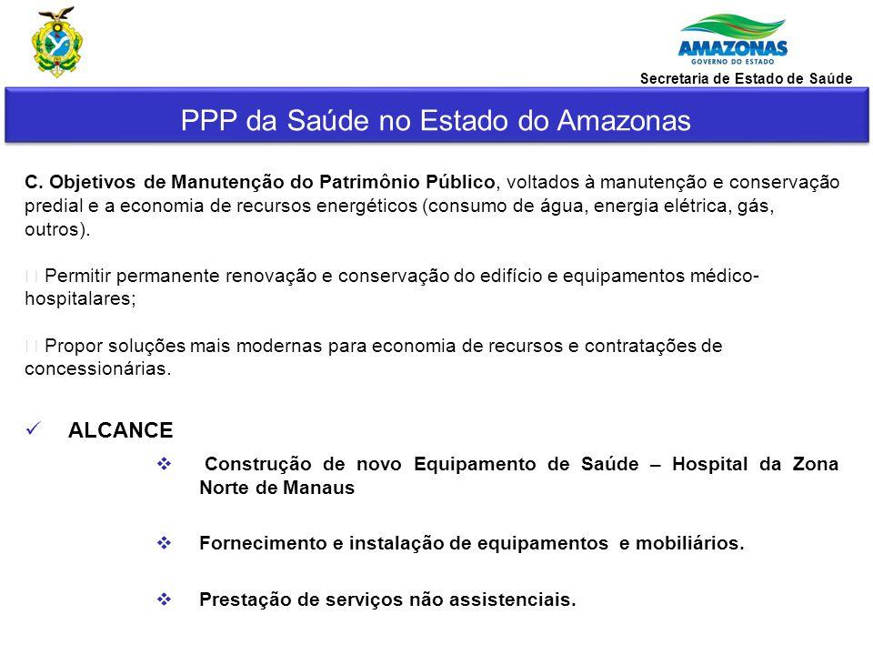 PPP da Saúde no Estado do Amazonas Secretaria de Estado de Saúde Caracterização da Zona Norte: -Área geográfica de aproximadamente 7.620ha, com tendência ao crescimento e a tornar-se a maior concentração da população da cidade; -De acordo com o IBGE/2010, a região tem uma população de aproximadamente 500.000 habitantes sendo a maioria de média e baixa renda.