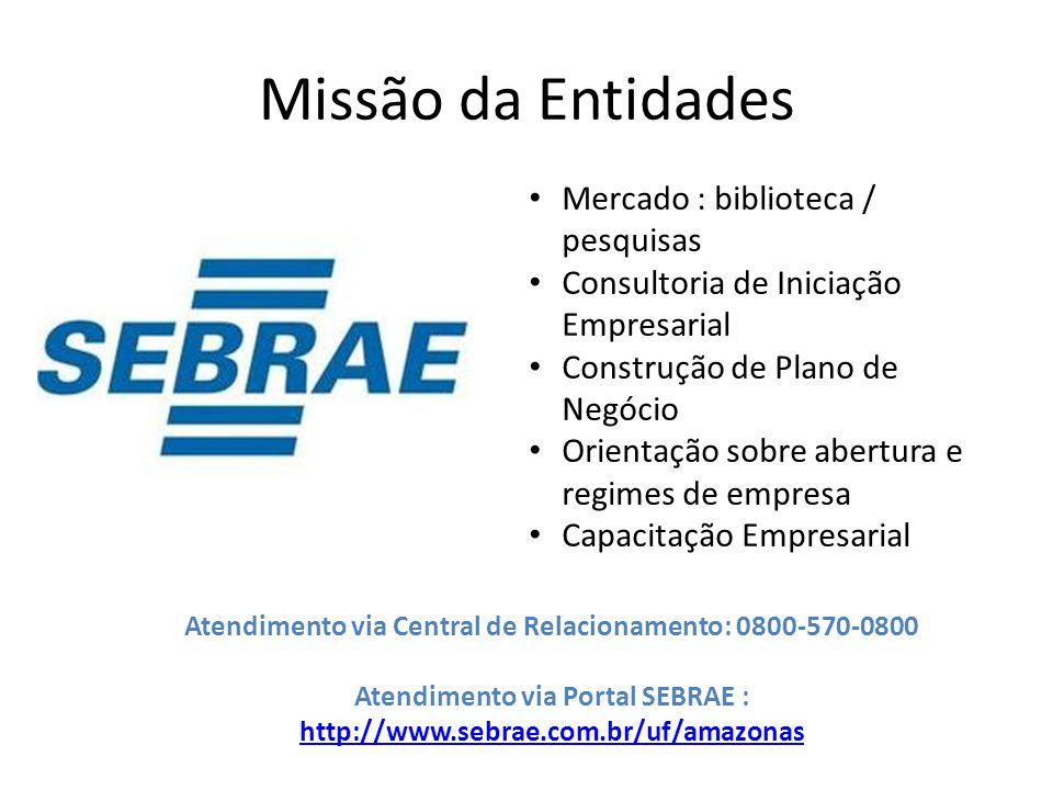 Missão da Entidades Mercado : biblioteca / pesquisas Consultoria de Iniciação Empresarial Construção de Plano de Negócio Orientação sobre abertura e r