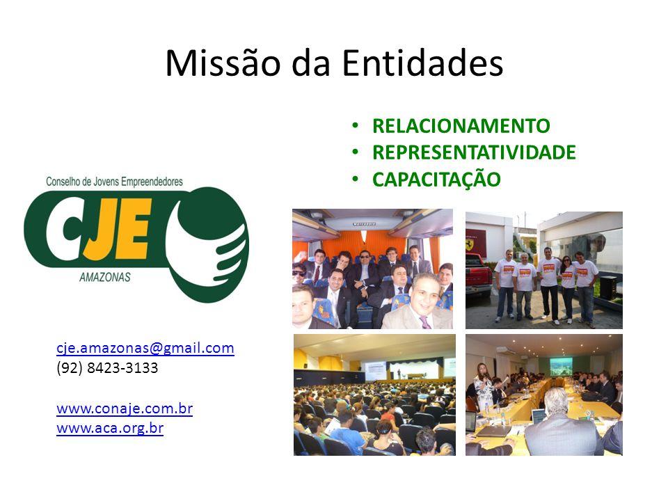 Missão da Entidades RELACIONAMENTO REPRESENTATIVIDADE CAPACITAÇÃO cje.amazonas@gmail.com (92) 8423-3133 www.conaje.com.br www.aca.org.br