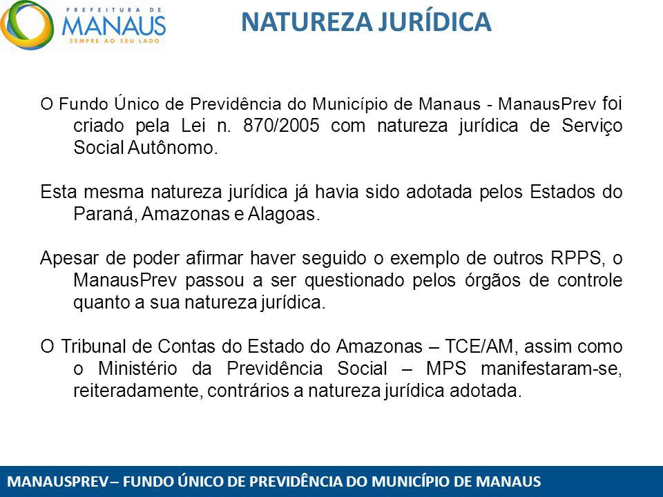 MANAUSPREV – FUNDO ÚNICO DE PREVIDÊNCIA DO MUNICÍPIO DE MANAUS NATUREZA JURÍDICA O Fundo Único de Previdência do Município de Manaus - ManausPrev foi