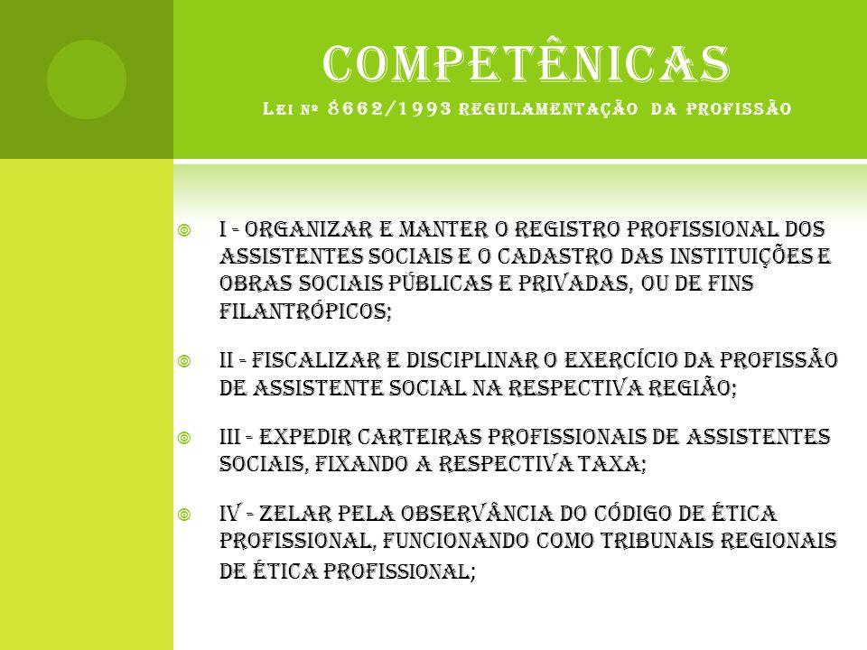 COMPETÊNICAS L EI Nº 8662/1993 REGULAMENTAÇÃO DA PROFISSÃO  I - organizar e manter o registro profissional dos Assistentes Sociais e o cadastro das i