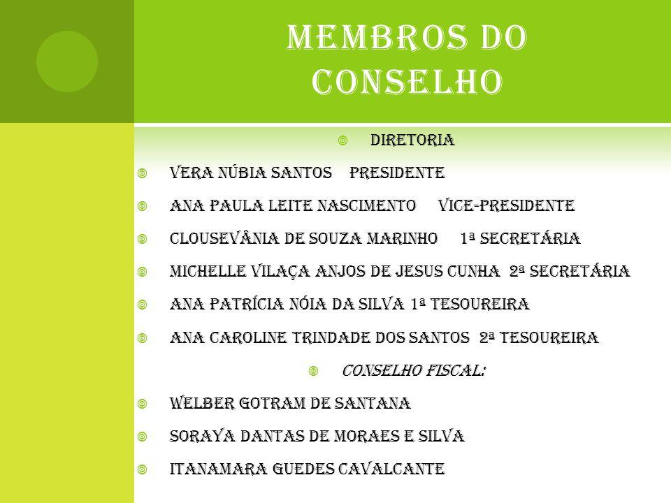 MEMBROS DO CONSELHO  DIRETORIA  VERA NÚBIA SANTOS PRESIDENTE  ANA PAULA LEITE NASCIMENTO VICE-PRESIDENTE  CLOUSEVÂNIA DE SOUZA MARINHO 1ª SECRETÁR
