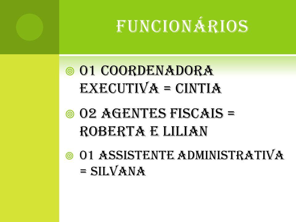 FUNCIONÁRIOS  01 COORDENADORA EXECUTIVA = CINTIA  02 AGENTES FISCAIS = ROBERTA E LILIAN  01 ASSISTENTE ADMINISTRATIVA = SILVANA