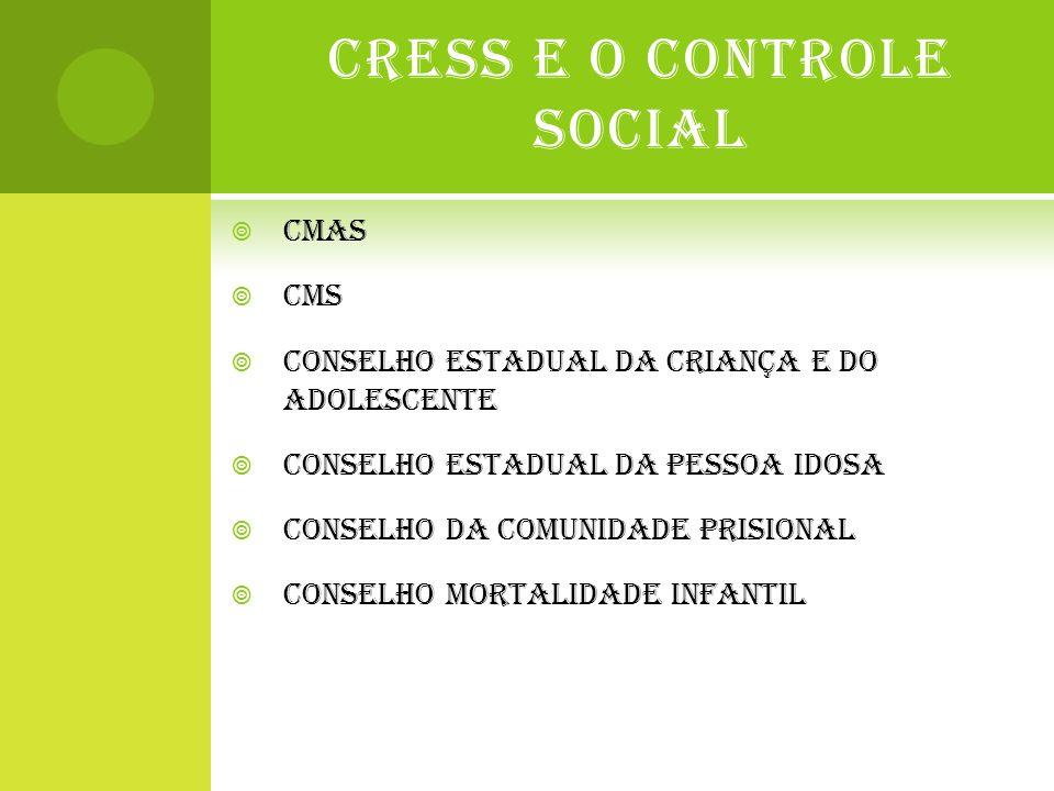 CRESS E O CONTROLE SOCIAL  CMAS  CMS  CONSELHO ESTADUAL DA CRIANÇA E DO ADOLESCENTE  CONSELHO ESTADUAL DA PESSOA IDOSA  CONSELHO DA COMUNIDADE PR