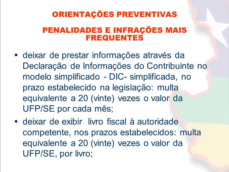  deixar de prestar informações através da Declaração de Informações do Contribuinte no modelo simplificado - DIC- simplificada, no prazo estabelecido