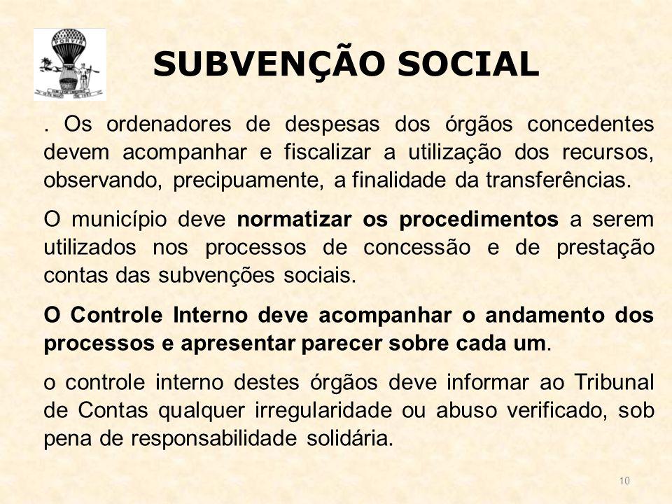 10 SUBVENÇÃO SOCIAL.