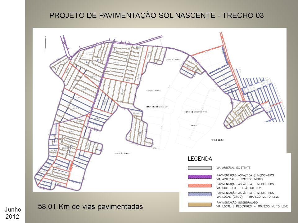 PROJETO DE PAVIMENTAÇÃO SOL NASCENTE - TRECHO 03 Junho 2012 58,01 Km de vias pavimentadas