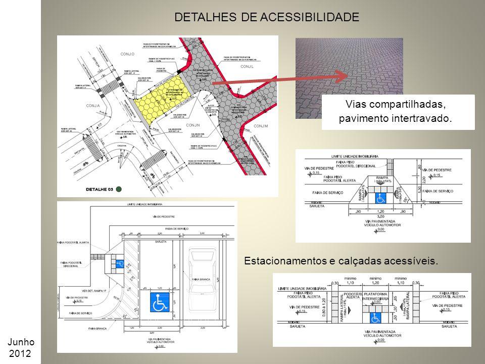 Junho 2012 DETALHES DE ACESSIBILIDADE Vias compartilhadas, pavimento intertravado. Estacionamentos e calçadas acessíveis.