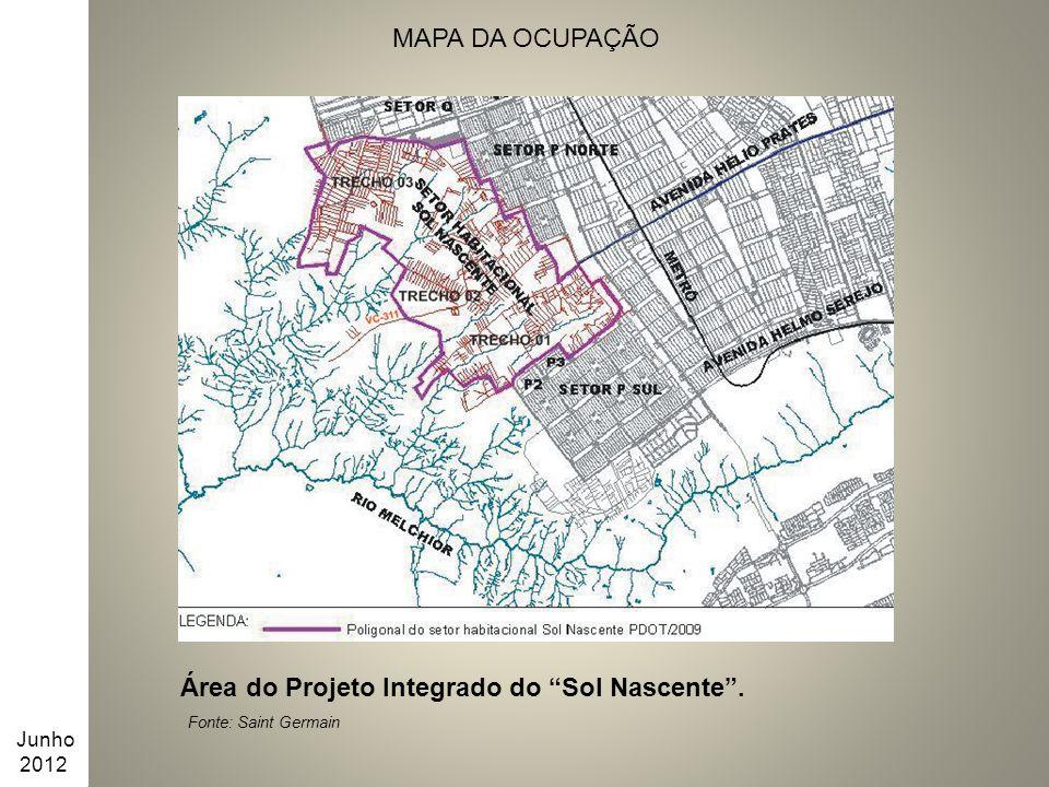 """MAPA DA OCUPAÇÃO Área do Projeto Integrado do """"Sol Nascente"""". Fonte: Saint Germain Junho 2012"""