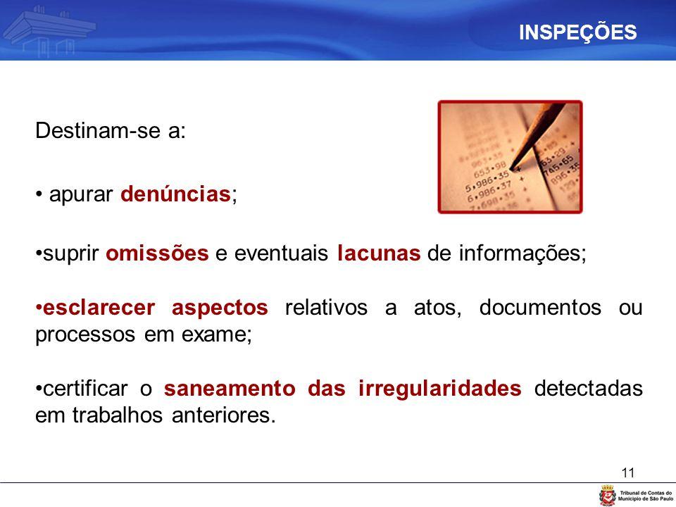11 Destinam-se a: apurar denúncias; suprir omissões e eventuais lacunas de informações; esclarecer aspectos relativos a atos, documentos ou processos