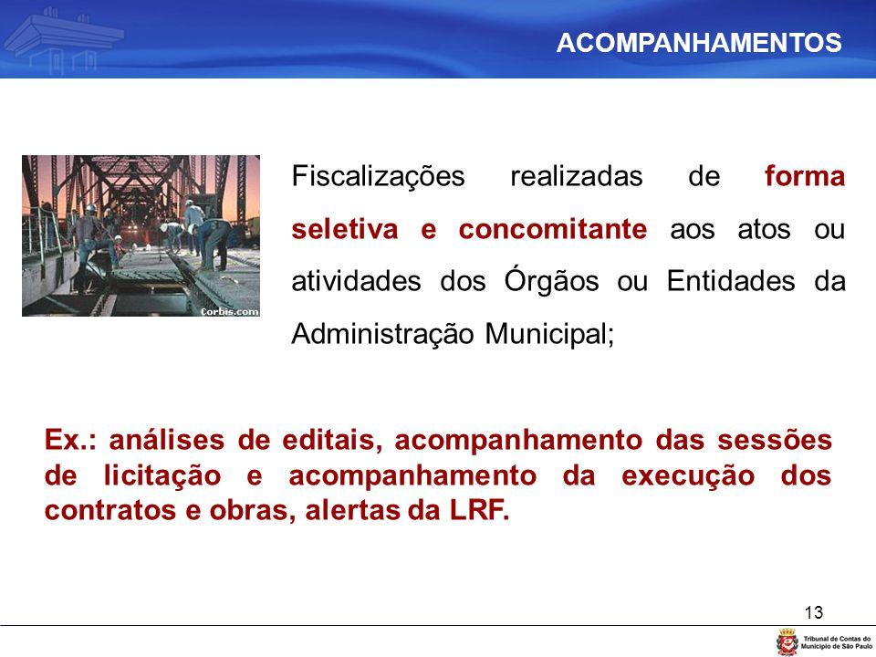13 Fiscalizações realizadas de forma seletiva e concomitante aos atos ou atividades dos Órgãos ou Entidades da Administração Municipal; Ex.: análises