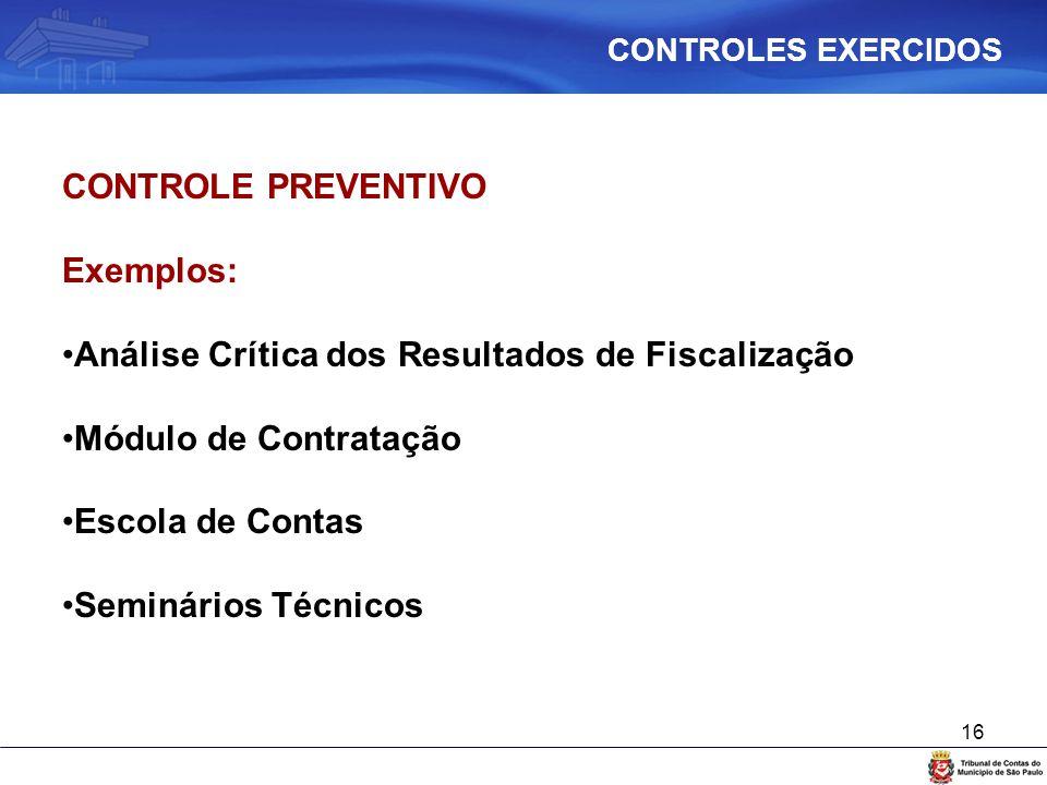 16 CONTROLE PREVENTIVO Exemplos: Análise Crítica dos Resultados de Fiscalização Módulo de Contratação Escola de Contas Seminários Técnicos CONTROLES E